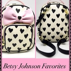 Betsey Johnson New Hearts Pink Bow backpack